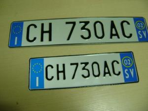 Пример итальянского номерного знака