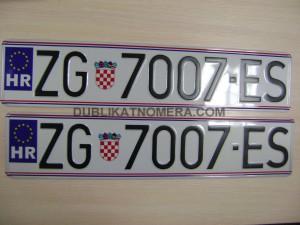 Номерной знак Хорватии