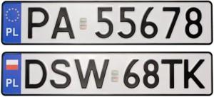 дубликаты польских номерных знаков
