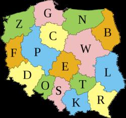 Карта автомобильных знаков Польши