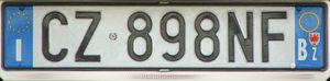 Итальянский номерной знак