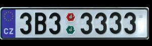Пример Чешского номера на машину