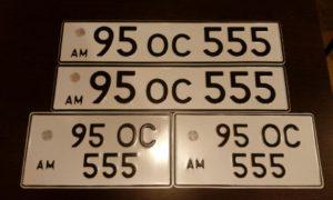 Примеры номерных знаков, квадратных и прямоугольных
